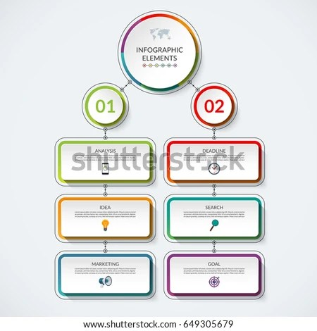 Infographic Flow Chart Template 2 Option Stock Vector (Royalty Free