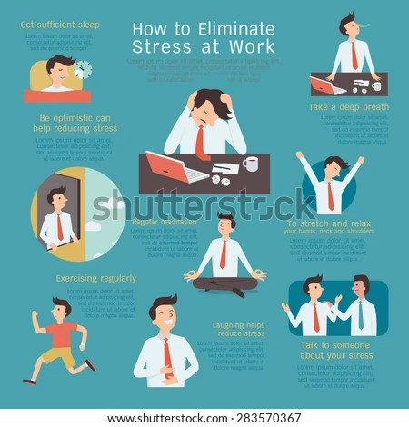 Infographics How Eliminate Reduce Stress Workplace Stock Vector