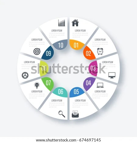 Infographics Template 10 Options Circles Can Stock Vector (Royalty
