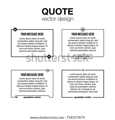 Innovative Set Vector Quotation Template Quotes Stock Vector