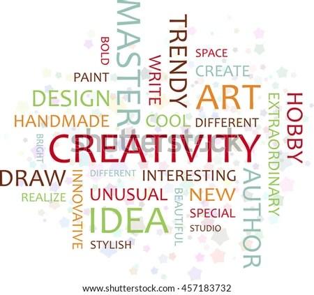 Inscription Creativity Association Word Creative Colored Stock