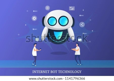 Internet Bot Technology Marketing Communication Chatbot Stock Vector