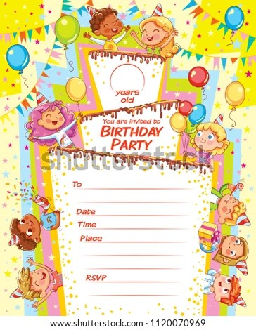 Invitation Card Birthday Party Template Filing Stock Vector (Royalty