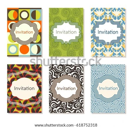 Invitation Card Design Template Set Editable Stock Vector (Royalty