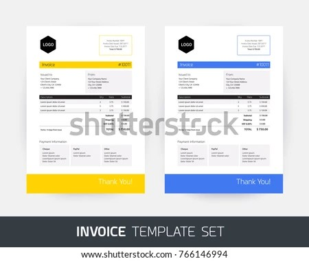 Invoice Design Template Business Company Yellow Stock Vector
