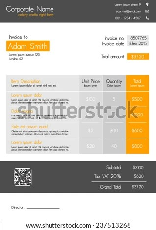 Invoice Template Clean Modern Style Orange Stock Vector (Royalty