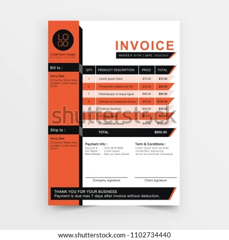 Invoice Template Vector Design Orange Minimal Stock Vector (Royalty