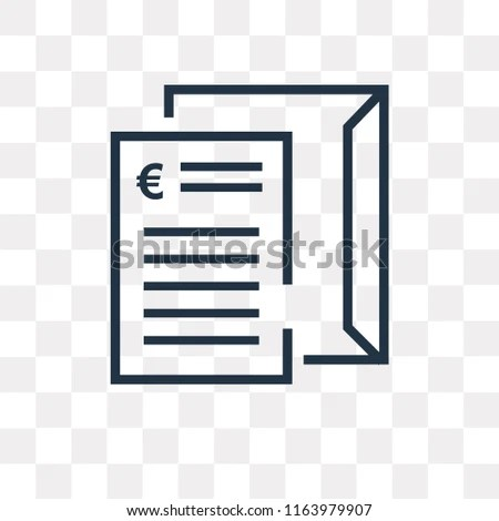 Invoice Vector Icon Isolated On Transparent Stock Vector (Royalty