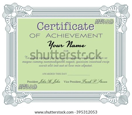 Isolated Certificate Text Certificate Achievement Written Stock