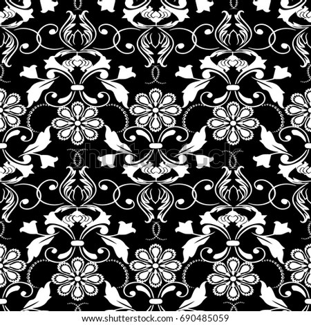 Isolated Floral Seamless Pattern Black Damask Stock Vector (Royalty