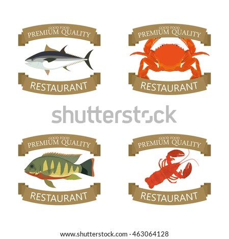 Isolated Sea Food Label Design Vector Stock Vector (Royalty Free