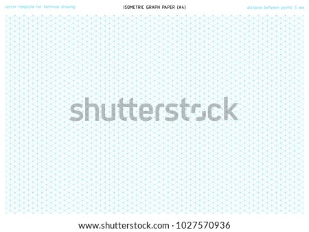 Isometric Graph Paper Vector Printable Template Stock Vector