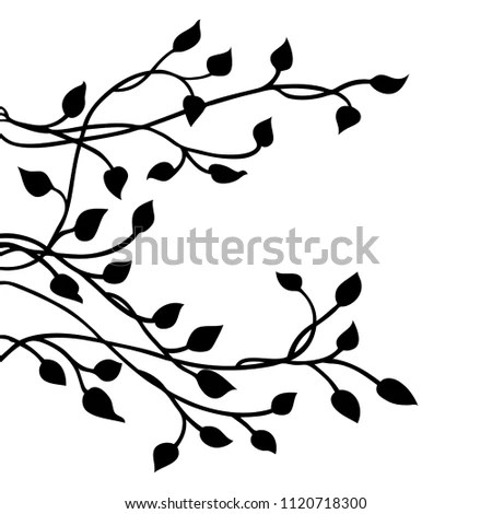 Ivy Vine Silhouette Vector Elegant Black Stock Vector (Royalty Free