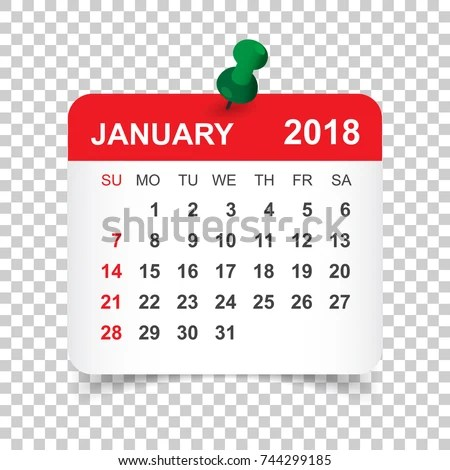 January 2018 Calendar Calendar Sticker Design Stock Vector (Royalty