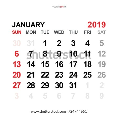 January 2019 Vector Monthly Calendar Template Stock Vector (Royalty