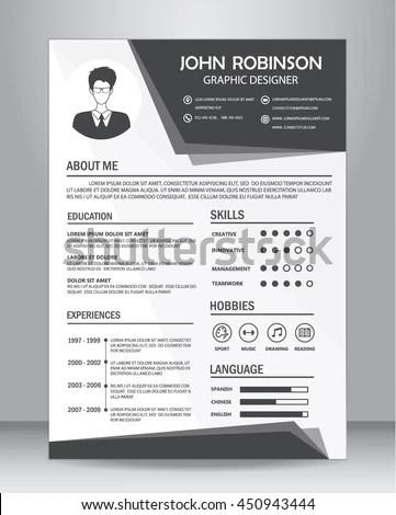Job Resume CV Template Layout Template Stock Vector (Royalty Free