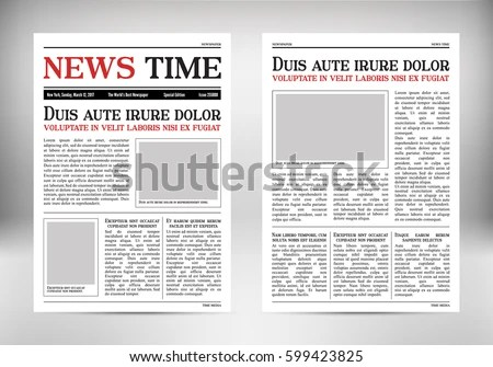 Journal Template Old Paper Tabloid On Stock Vector (Royalty Free