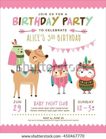 Kids Birthday Invitation Card Cute Cartoon Stock Vector (Royalty