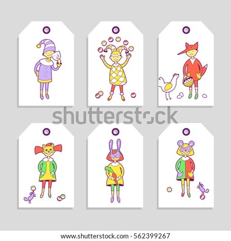 Kids Costume Party Set Cute Printable Stock Vector (Royalty Free