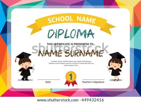 Kids Diploma Certificate Background Design Template Stock Vector