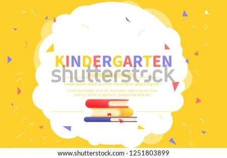Kindergarten Certificate Templates Student Kids Design Stock Vector