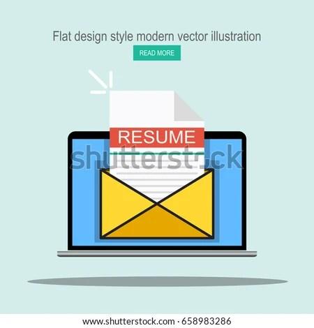 Laptop Envelope Resume Letter Email Cv Stock Vector (Royalty Free