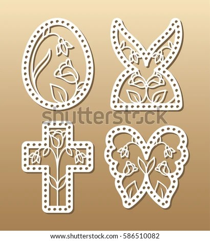 Laser Cut Template Easter Invitation Congratulation Stock Vector