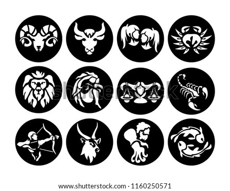 Laser Cutting Template Collection Zodiac Signs Stock Vector (Royalty