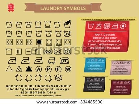 Laundry Symbols Laundry Signs Editable Stock Vector (Royalty Free