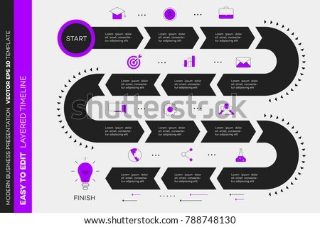 Layered Infographic Timeline Vector Roadmap Template Stock Vector