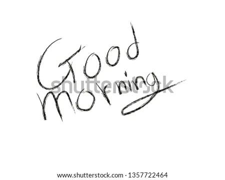 Letter Font Written Good Morning Handwriting Stock Vector (Royalty