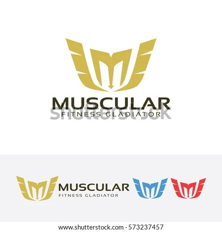 Letter M Muscle Fitness Gladiator Fitness Stock Vector (Royalty Free