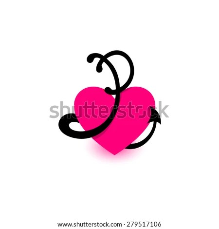 Letter P Heart Beautiful Vector Love Stock Vector (Royalty Free