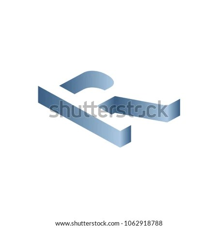 Letter R Block Shadow Logo Blue Stock Vector (Royalty Free