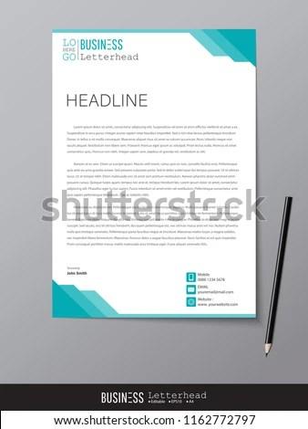 Letterhead Design Template Mockup Minimalist Style Stock Vector
