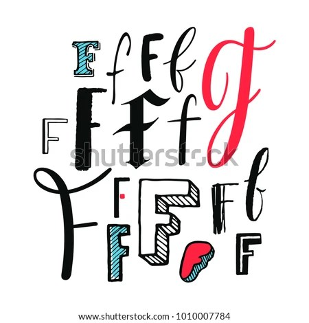 Letters F Set Different Styles Handdrawn Stock Vector (Royalty Free