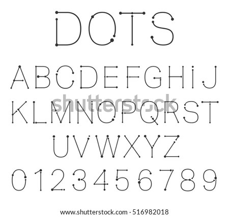Letters Numbers Alphabet Font Template Connection Stock Vector