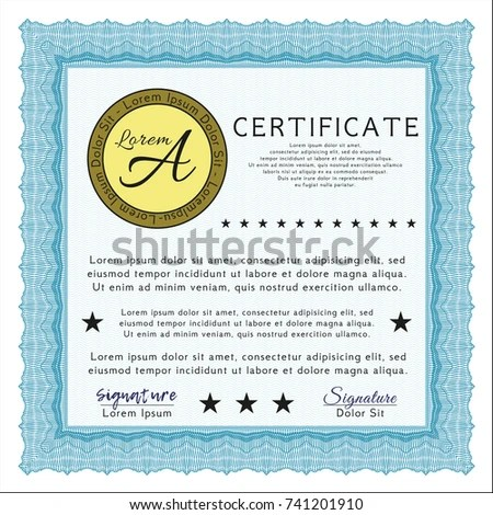 Light Blue Certificate Diploma Award Template Stock Vector (Royalty