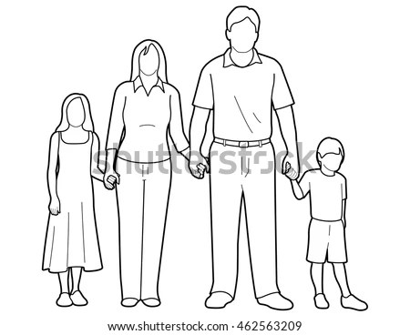 Line Art Drawing Generic Family Holding Stock Vector (Royalty Free