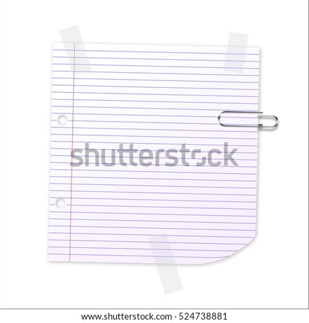 Lined Writing Paper Clear Tape Paperclip Stock Vector (Royalty Free