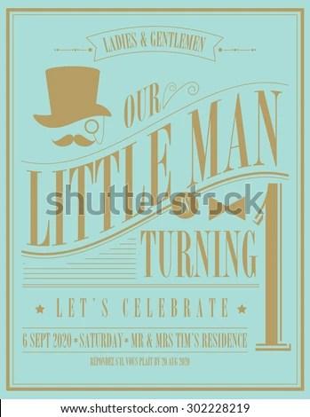 Little Man Birthday Invitation Card Template Stock Vector (Royalty