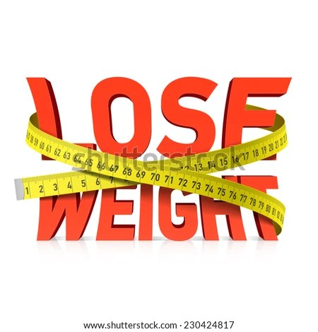 Lose Weight Word Measuring Tape Concept Stock Vector (Royalty Free