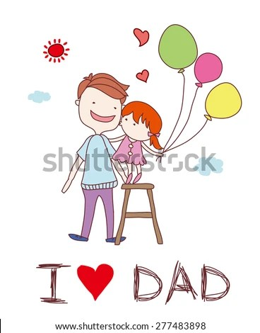 Love Dad Happy Fathers Day Card Stock Vector (Royalty Free