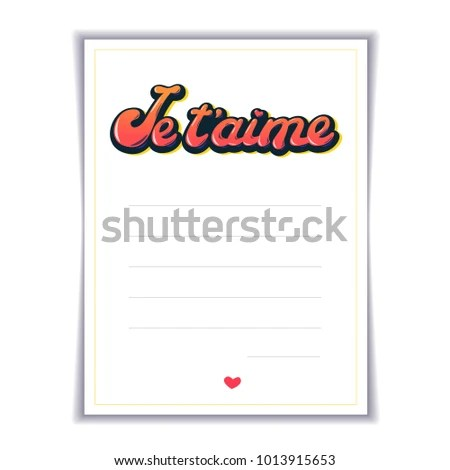 Love Letter Template Inscription Je Taime Stock Vector (Royalty Free