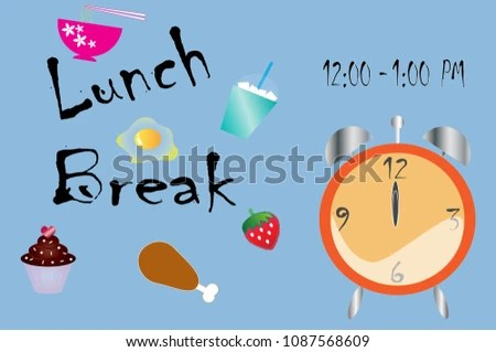 Lunch Break Time Vector Background Illustration Stock Vector