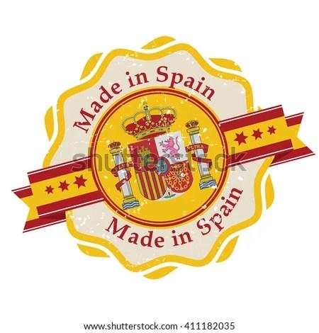 Made Spain Grunge Printable Label Grunge Stock Vector (Royalty Free