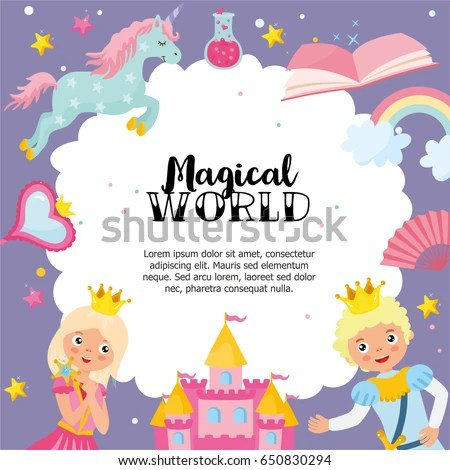 Magical World Greeting Card Template Magic Stock Vector (Royalty