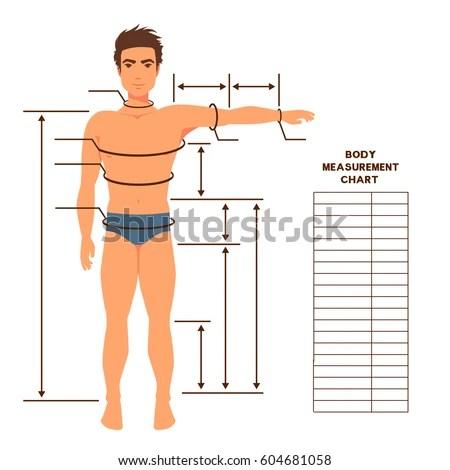 Male Body Measurement Chart Scheme Measurement Stock Vector (Royalty