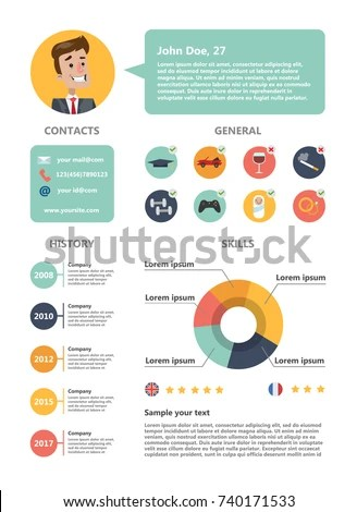 Male Resume Sample Skills Abilities Experience Stock Vector (Royalty