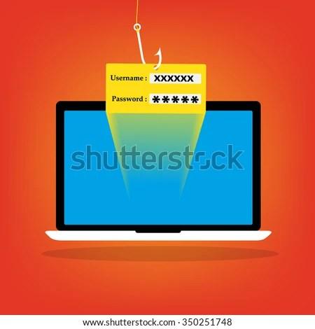Malware Computer Virus Phishing Username Password Stock Vector